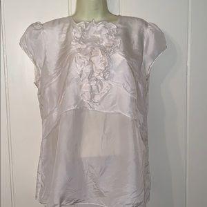 CAbi white silk blouse with ruffle embellishment